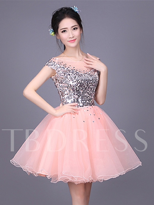 Sequins Ball Gown Scoop Cap Sleeves Homecoming Dress