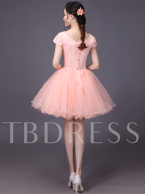 A-Line Cap Sleeves Sequins Scoop Homecoming Dress