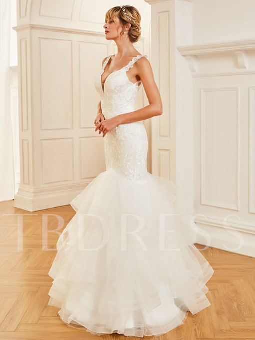 Straps Appliques Lace Mermaid Wedding Dress