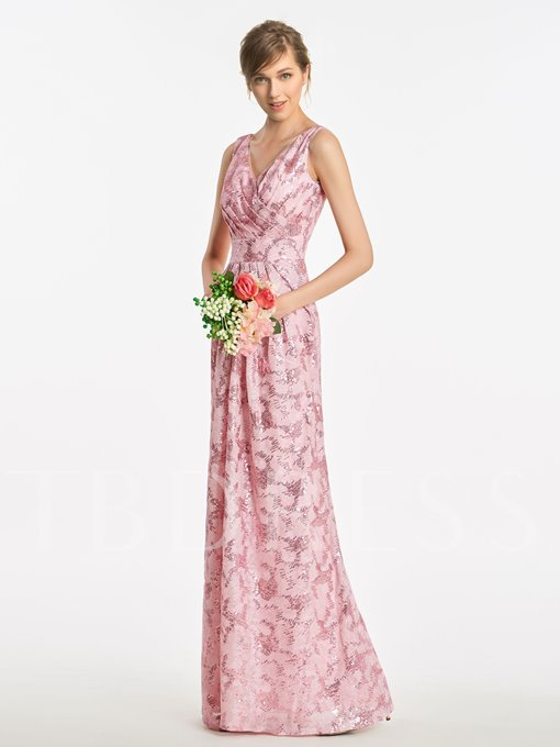 V-Neck Long Column Sequined Bridesmaid Dress