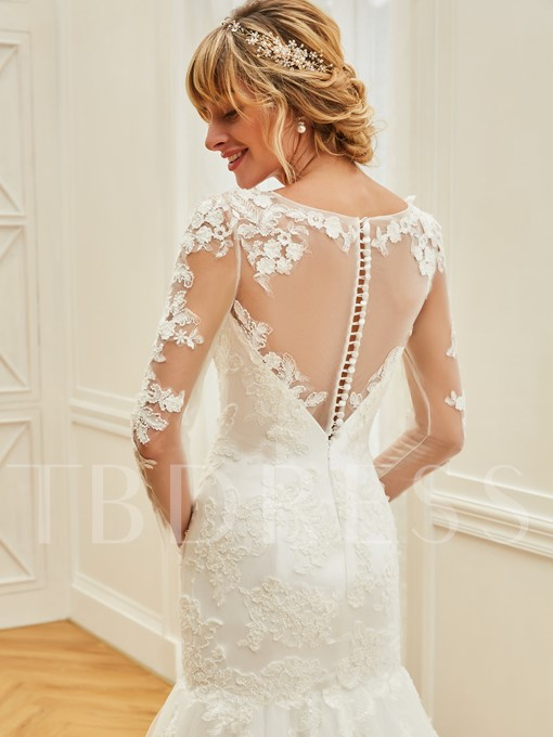 Long Sleeves Appliques Beading Mermaid Wedding Dress