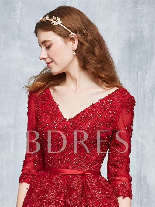 Appliques Beading Lace Pearls Sashes V-Neck A-Line Tea-Length Prom Dress