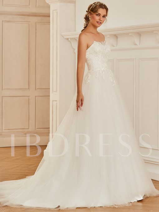 Ball Gown Lace Top Strapless Wedding Dress