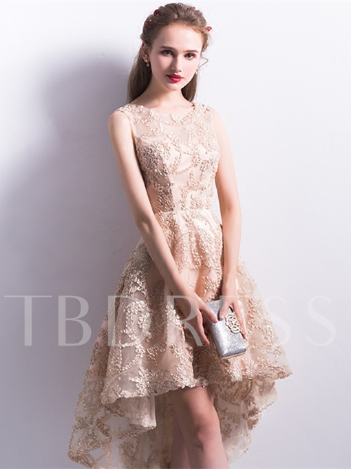 A-Line Scoop Lace Asymmetry Homecoming Dress