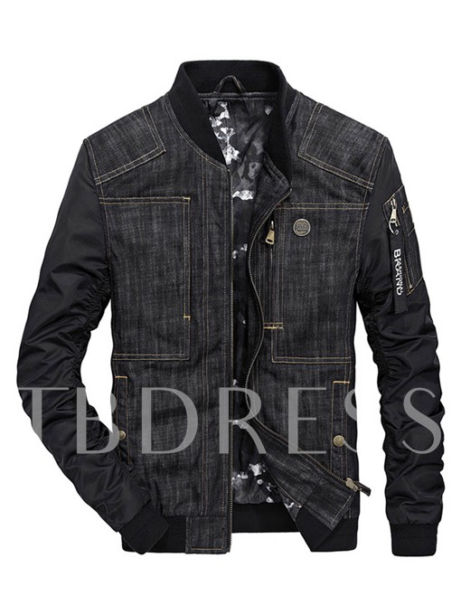 Stand Collar Zipper Patchwork Slim Fit Men's Casual Jacket