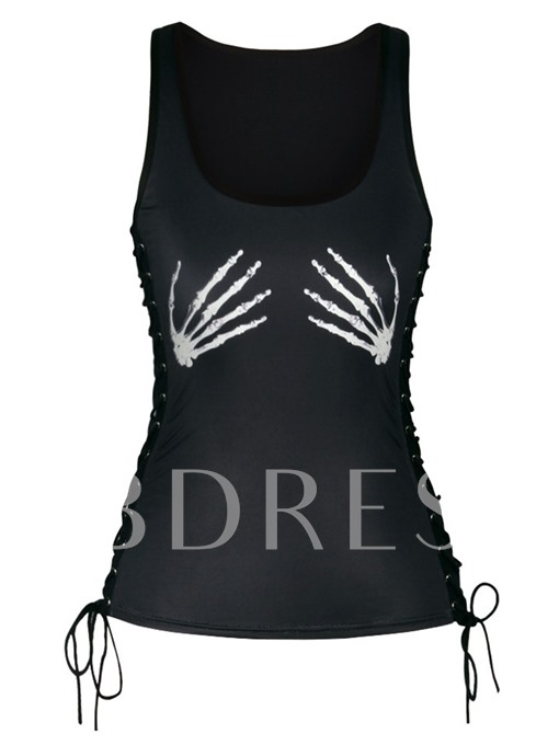 Halloween Goth I-Shaped Lace-up Women's Tank Top