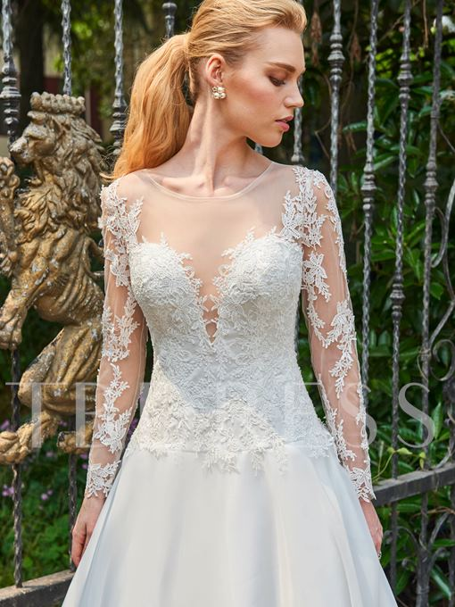 Illusion Neck Appliques Wedding Dress with Long Sleeve