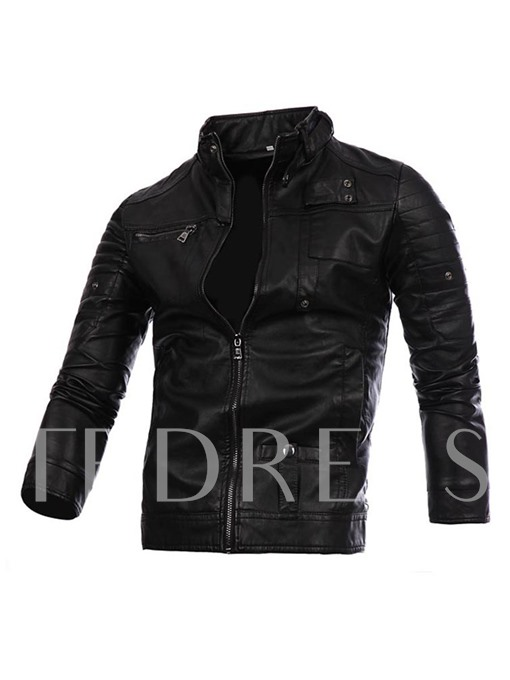 Stand Collar Zipper Slim Fit Vogue Men's Motor Jacket