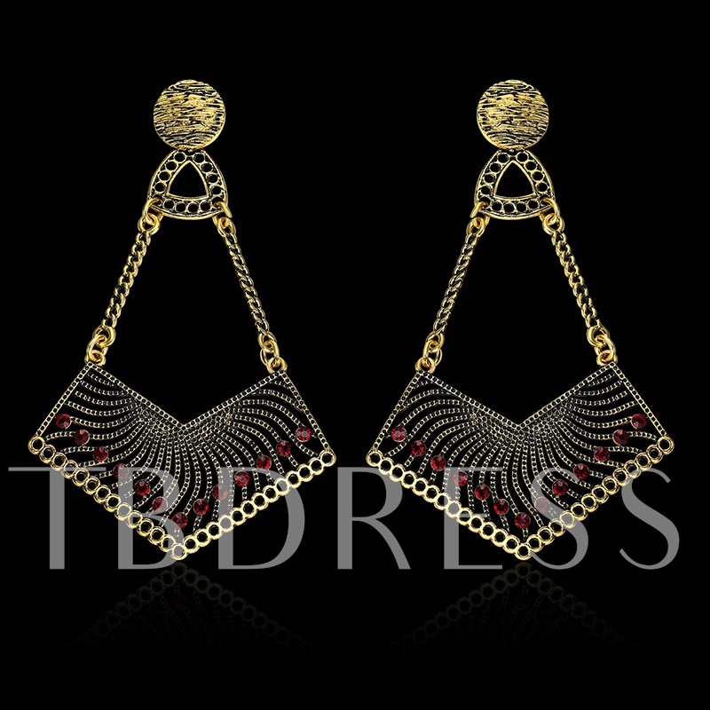 Red Rhinestone Golden Metal European Earrings