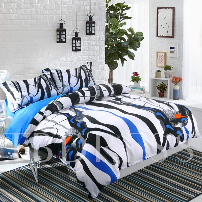 Zebra Butterflies Wings Pattern 4-Piece Cotton Bedding Sets/Duvet Cover