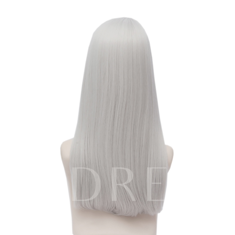 On ICE Long Gray White Straight Synthetic Hair Capless Halloween Coslpay Wig 24 Inches