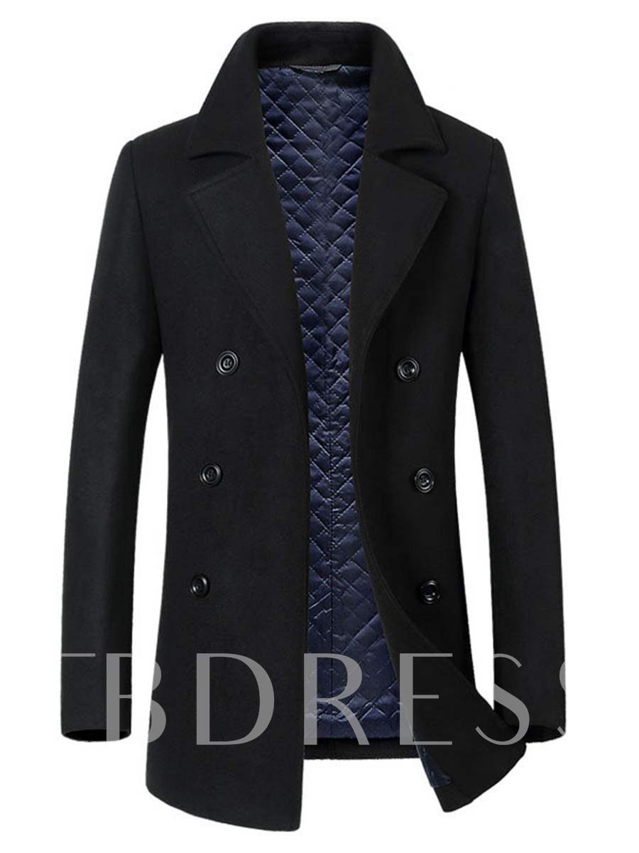 Notched Collar Double-Breasted Slim Men's Woolen Coat, Fall,Winter, 13086137