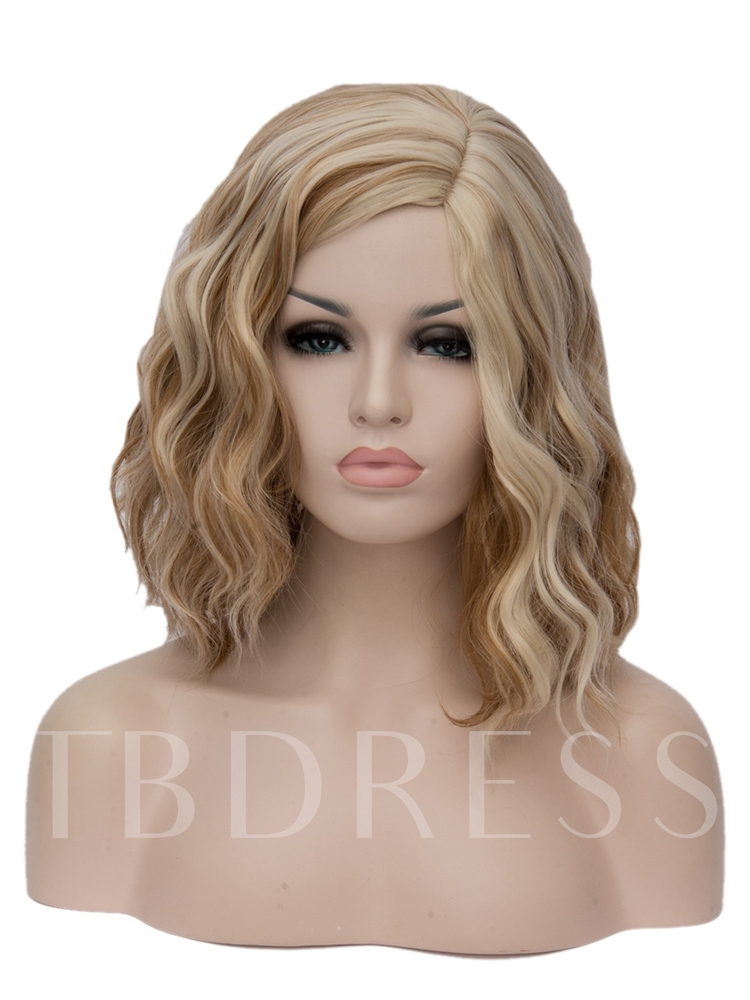 Medium Golden Curly Mixed Color Synthetic Hair Capless Cosplay Wigs 14 Inches