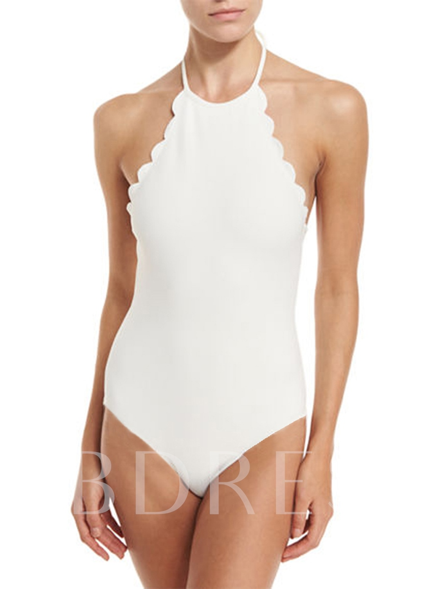 High-Neck Wave-Cut Print Plain One Piece Swimsuit