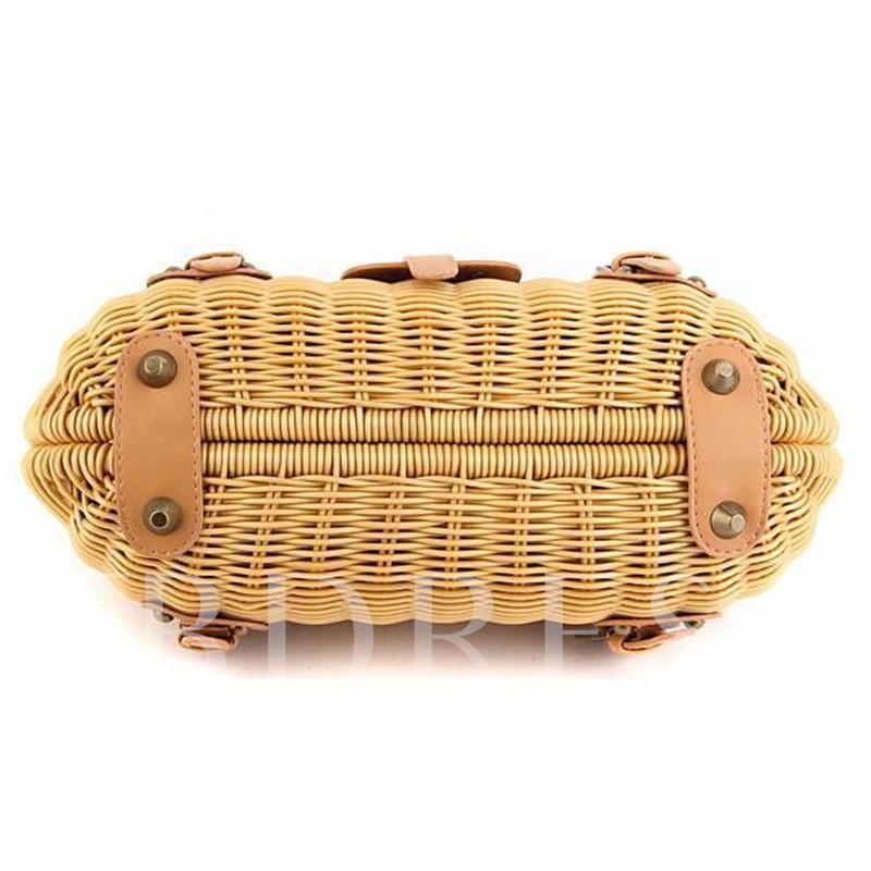 Casual Belt-Decorated Rattan Grass Tote Bag