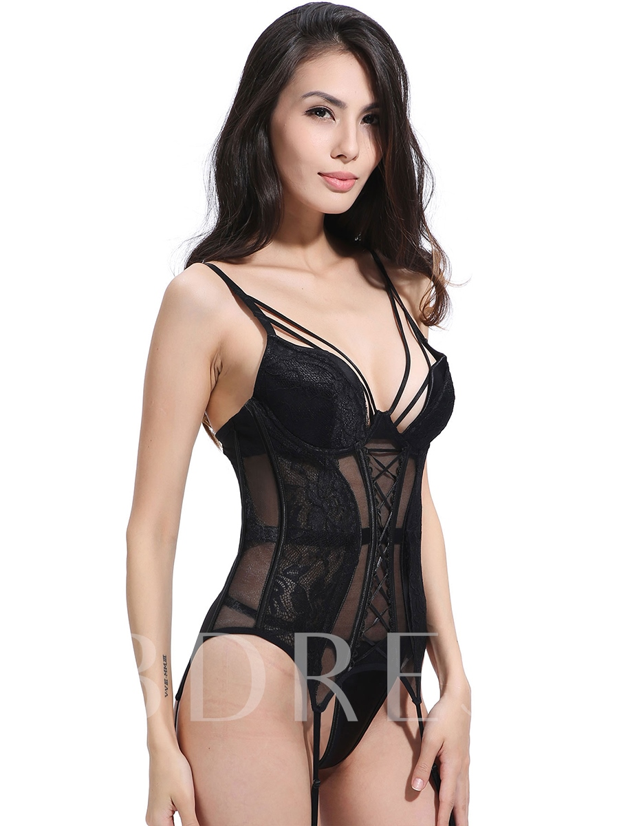 Solid Black Patchwork Women's Sexy Costume