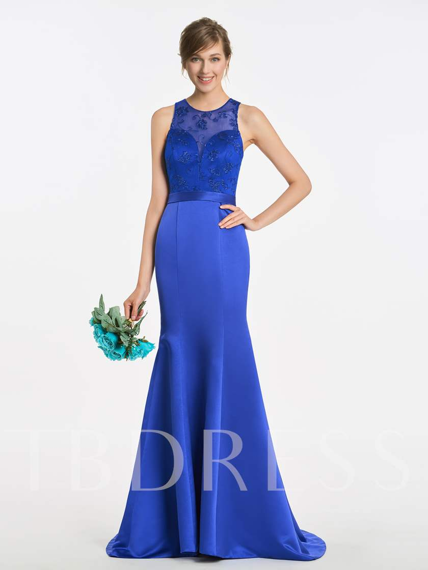 Jewel Neck Lace Mermaid Bridesmaid Dress
