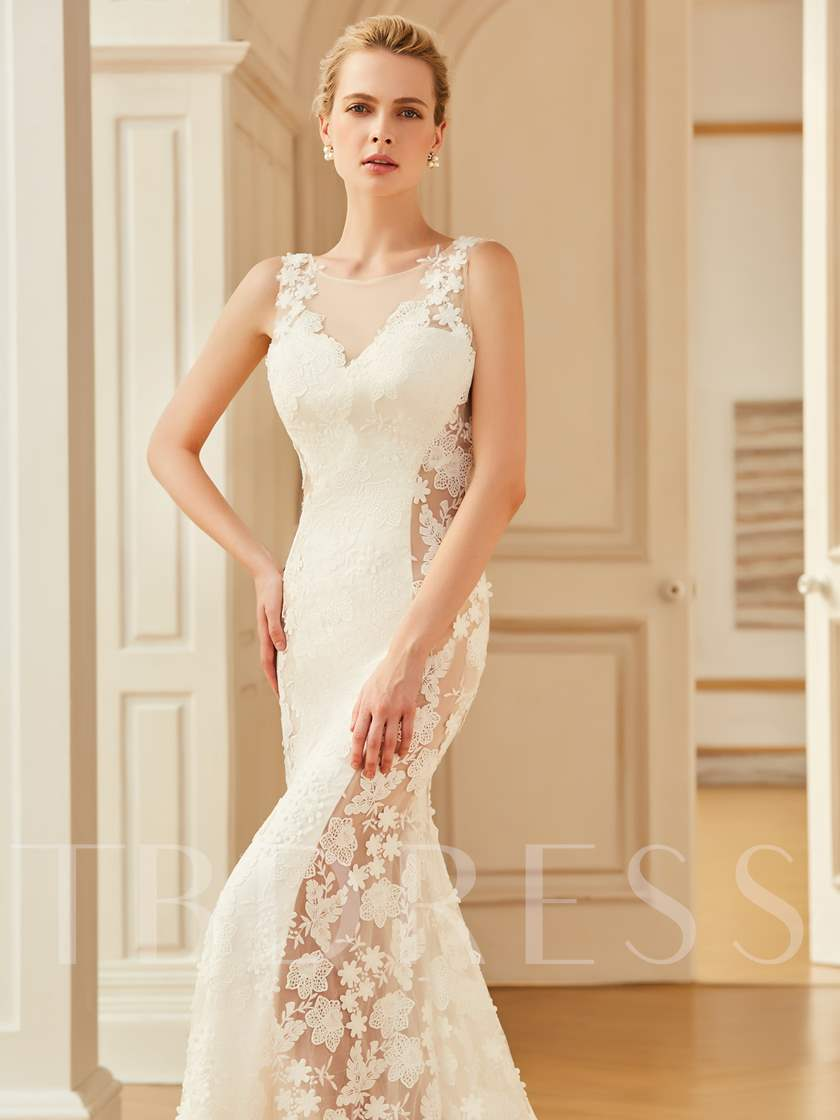 Backless Lace Court Train Mermaid Wedding Dress