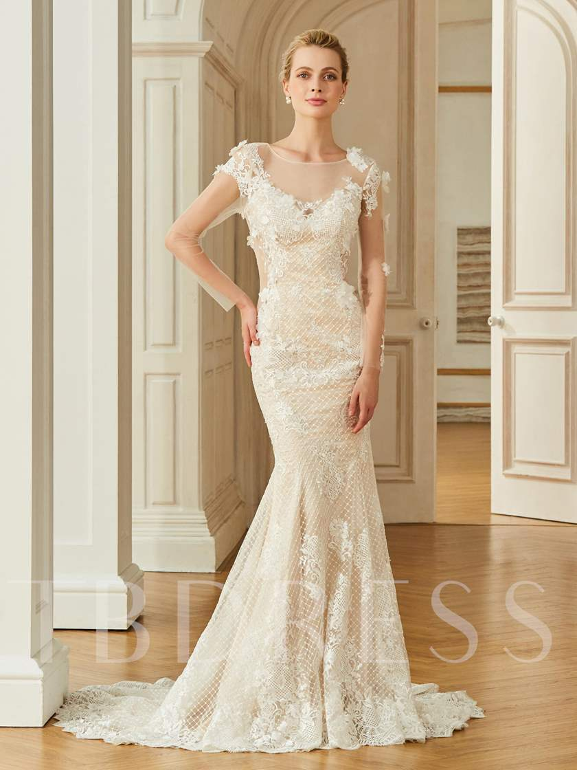 Scoop Neck Button Lace Mermaid Wedding Dress