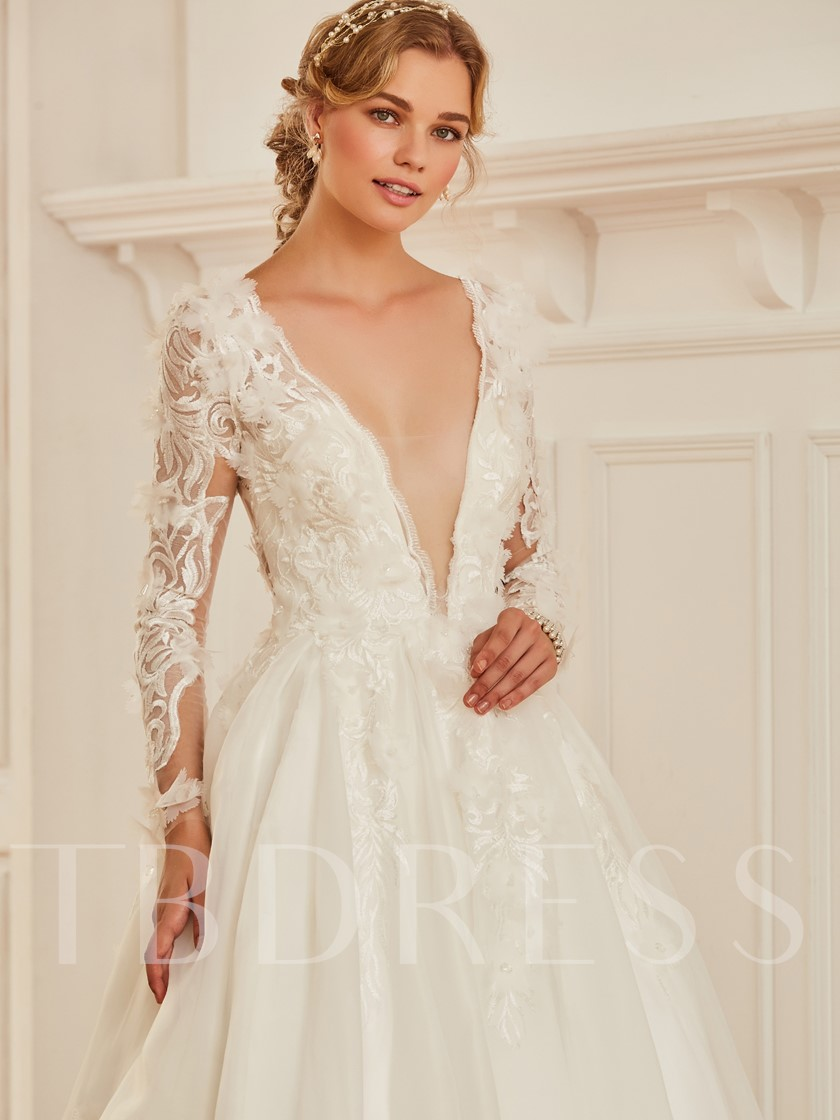 505af9118dae Deep V-Neck Appliques Long Sleeve Wedding Dress - Tbdress.com