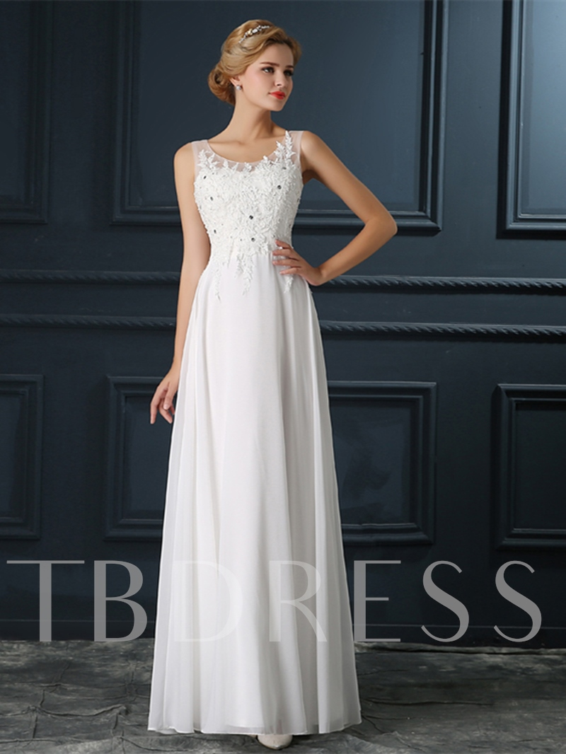 Straps Appliques Beading Ivory Evening Dress