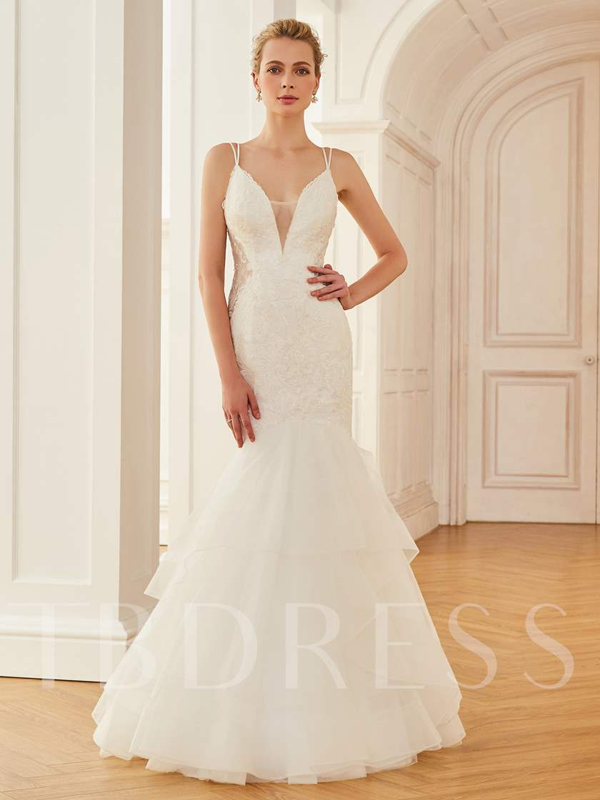 Spaghetti Straps Lace Top Mermaid Wedding Dress Tbdress