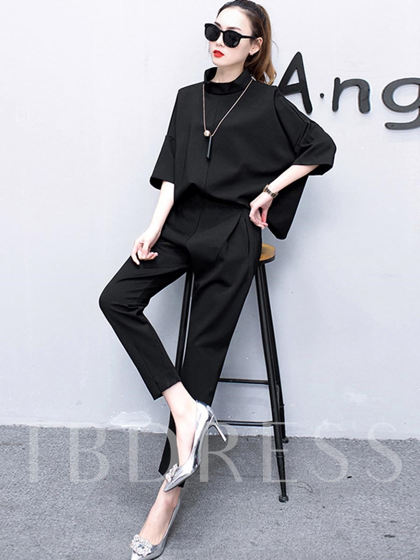 Plain Asymmetric Stand Collar Women's Two Piece Set
