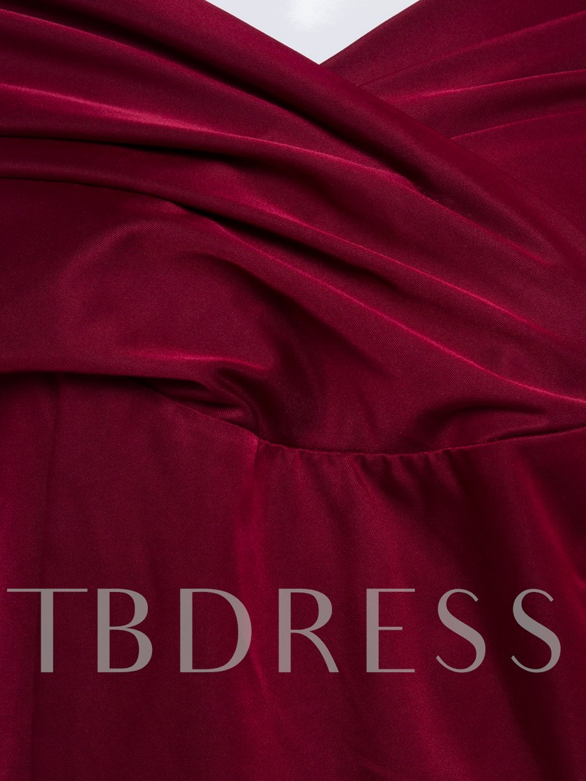 Burgundy Ruffled Pleated Women's Day Dress