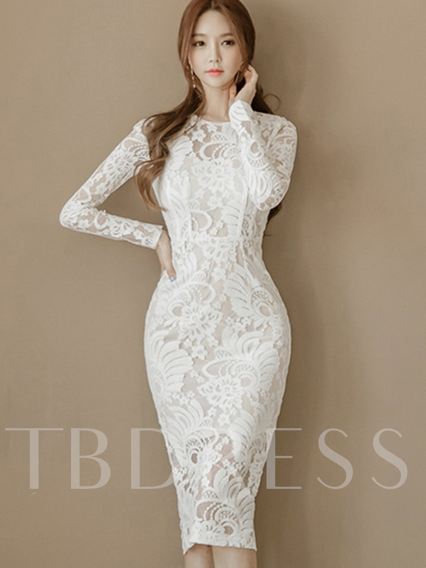 96d0a8b950a Off White Long Sleeve Sheath Women s Lace Dress - Tbdress.com
