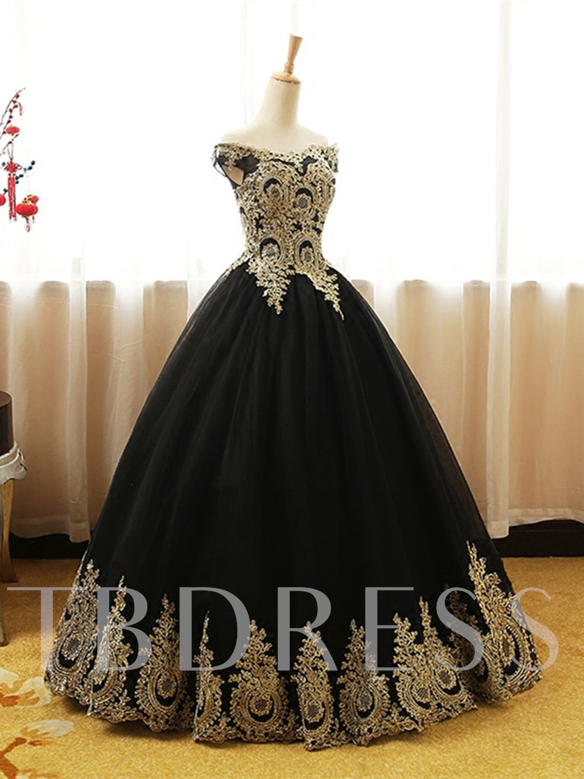 Off-the-Shoulder Appliques Black Quinceanera Dress