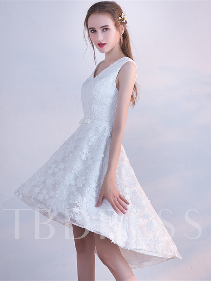 A-Line V-Neck Bowknot Lace Sashes Asymmetry Homecoming Dress