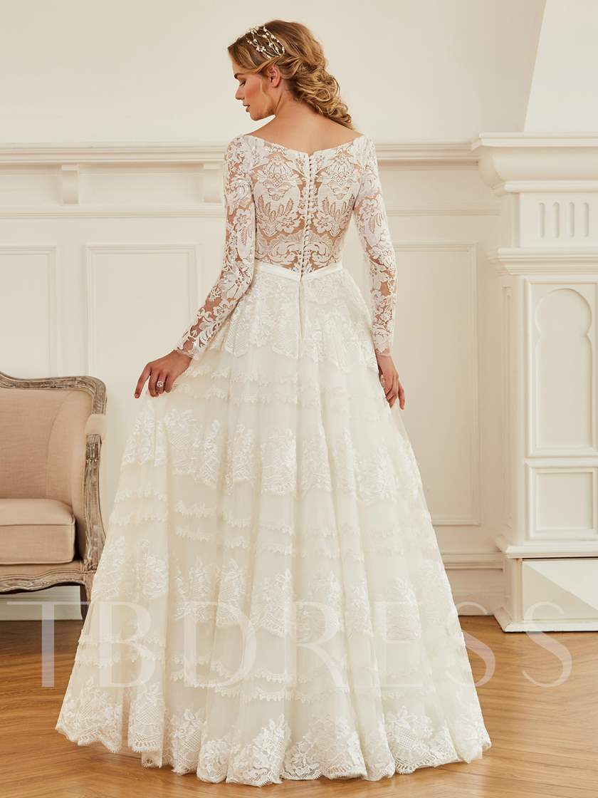 Buttoned V-Neck Sequins Lace Long Sleeve Wedding Dress