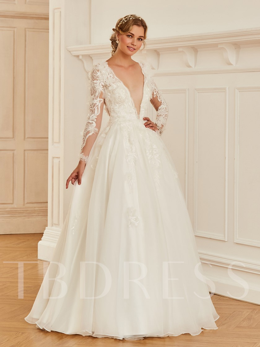 Deep V-Neck Appliques Long Sleeve Wedding Dress