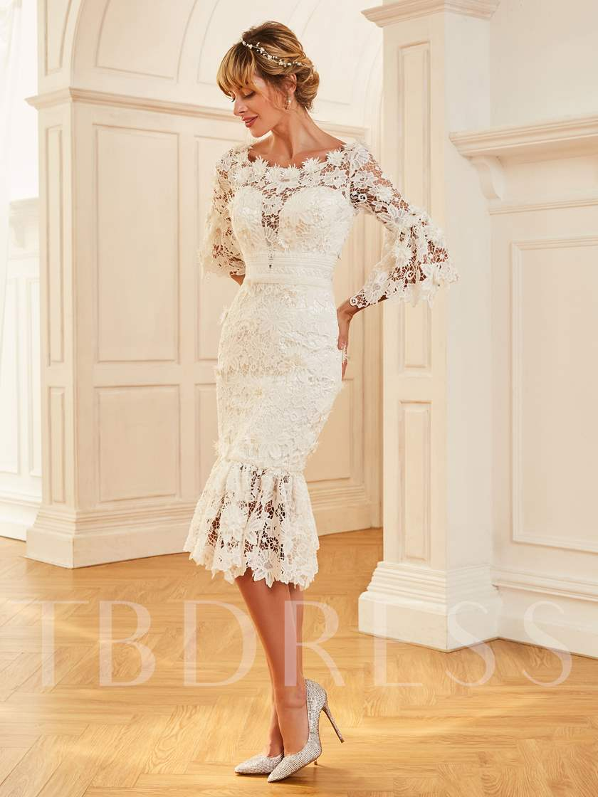 3/4 Length Sleeves Lace Beach Wedding Dress with Sleeves