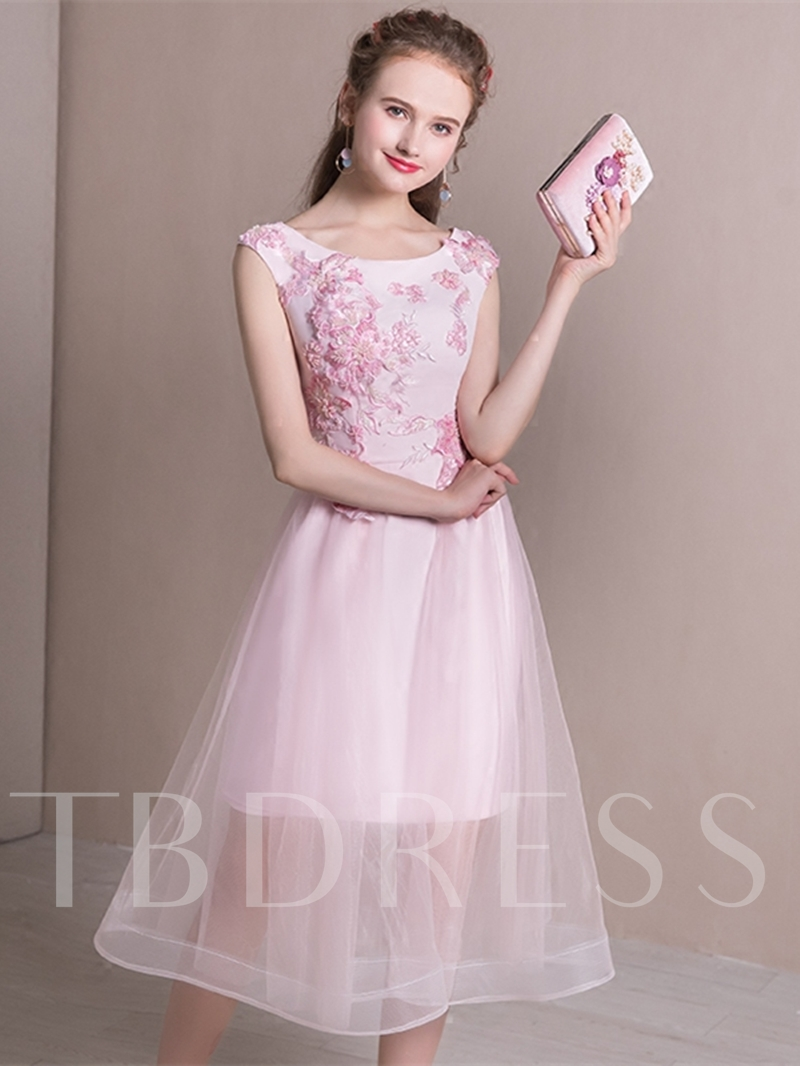 73122c00b12 A-Line Cap Sleeves Appliques Sequins Scoop Tea-Length Homecoming Dress.  Sold Out
