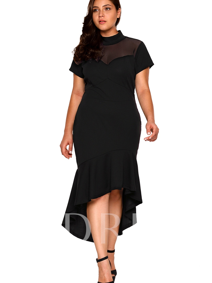 Asym Plus Size See-Through Women's Bodycon Dress