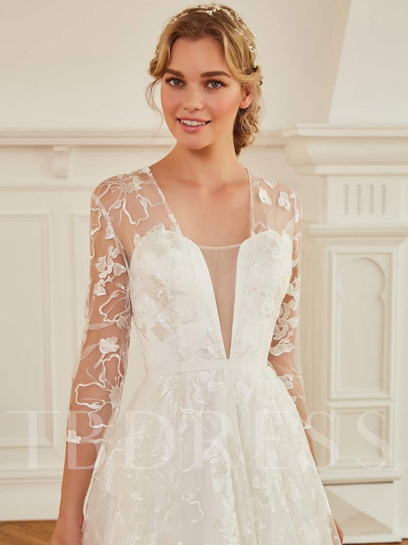 V-Neck 3/4 Length Sleeves Button Lace Wedding Dress ...