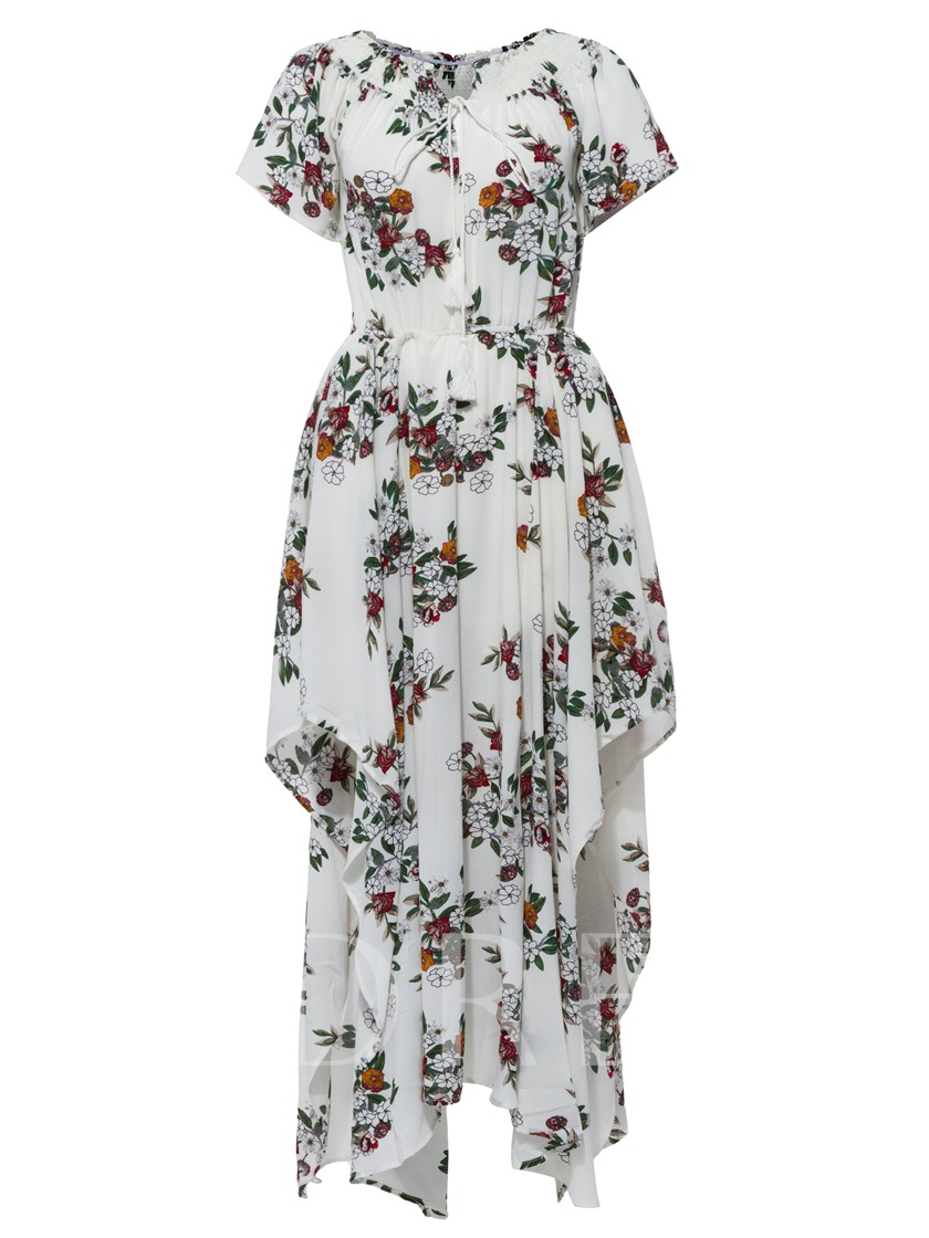 Off Shoulder Flower Print Women's Maxi Dress
