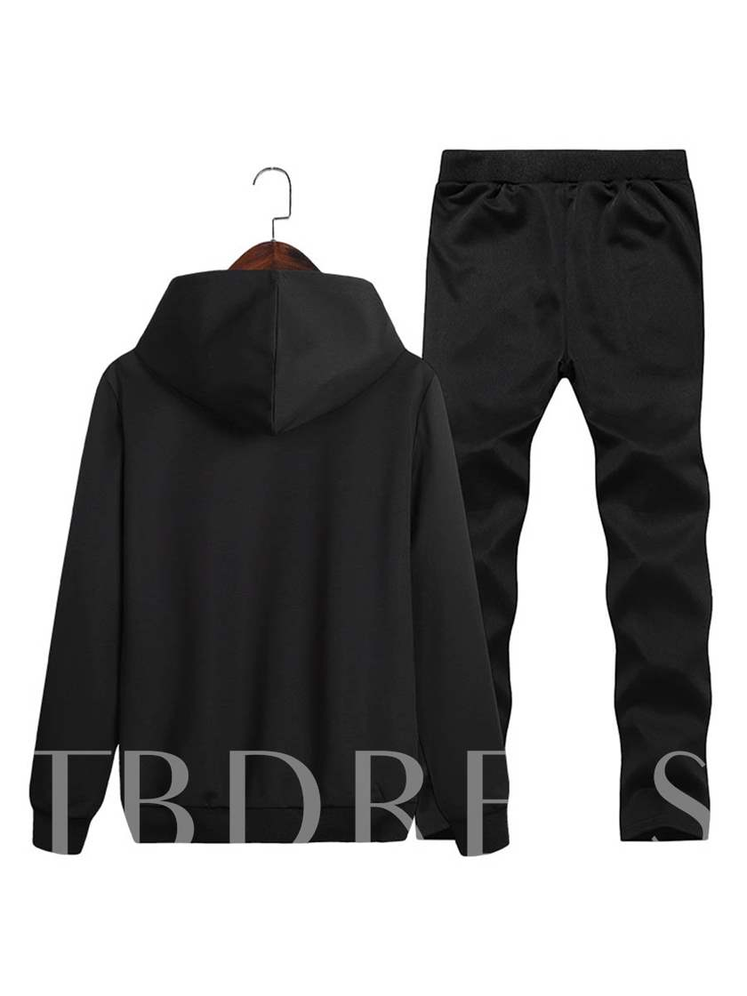 Hooded Letter Printed Solid Color Slim Fit Casual Men's Sports Suit
