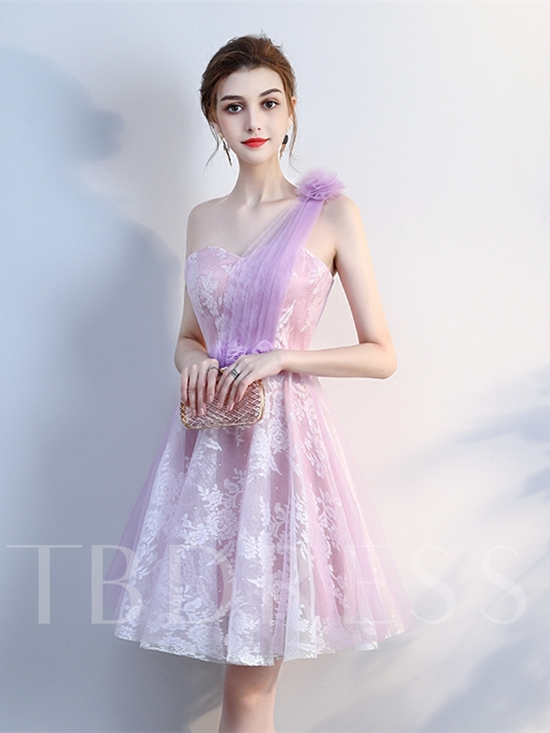 90ee3dbc7a ... Flowers Lace Pleats One-Shoulder Knee-Length Homecoming Dress. Sold Out