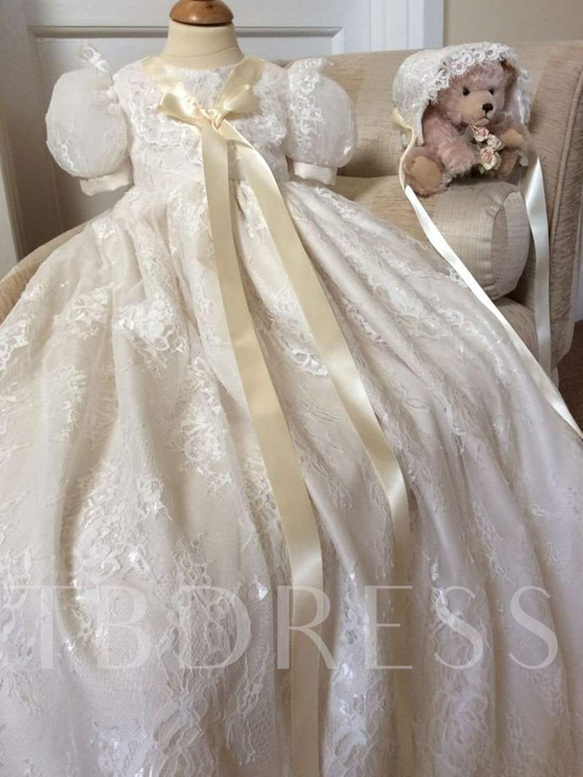 Short Sleeves Sashes Long Lace Baby Girl's Christening Gown
