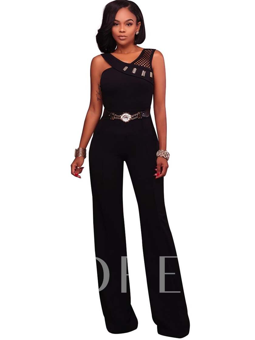 Straight Belt Hollow Women's Jumpsuit
