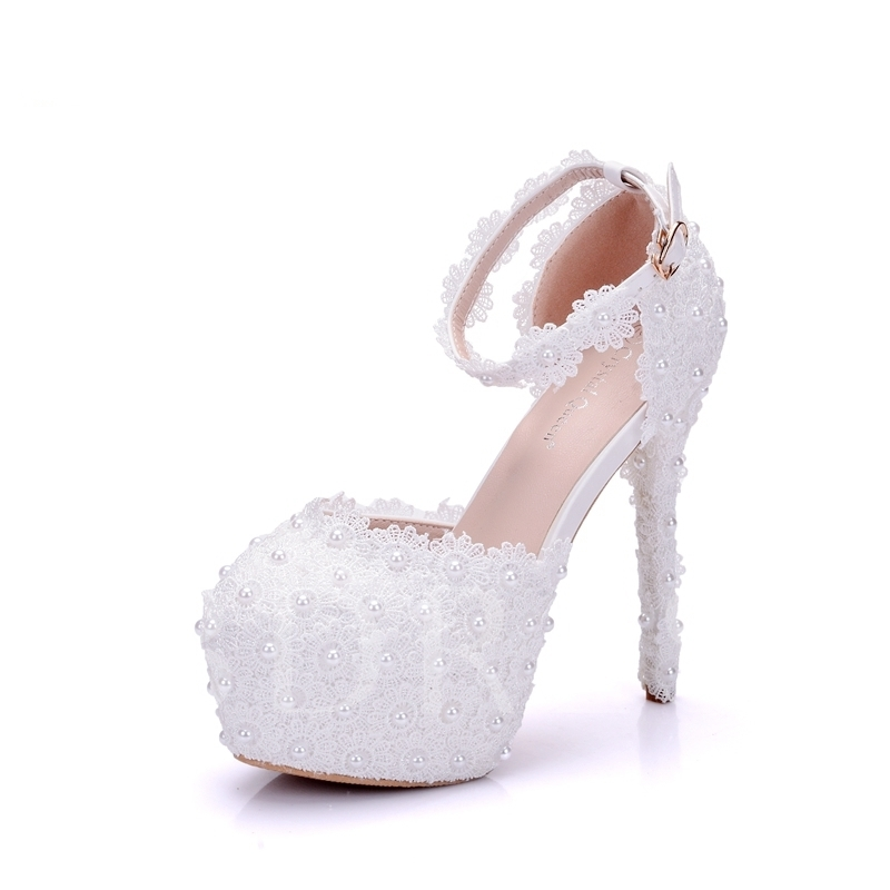 Buy Appliques Line-Style Buckle Bead Platform Women's White Wedding Shoes, Spring,Summer,Fall, 12954050 for $57.99 in TBDress store