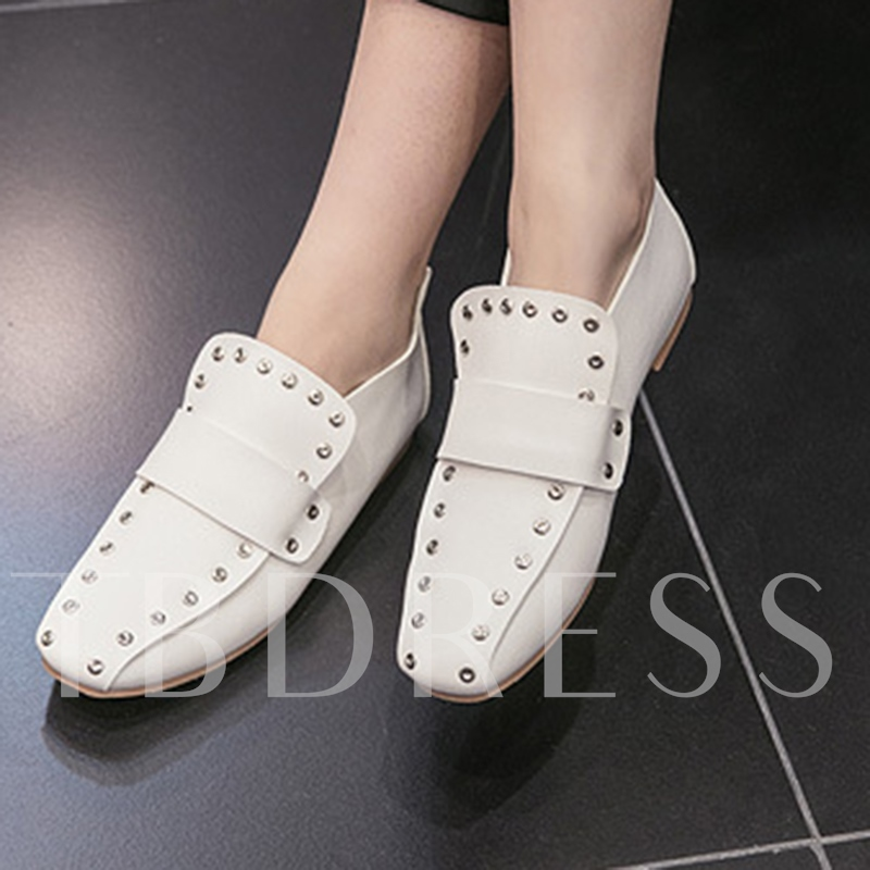Square Toe Flat With Rivet Women's Casual Shoes