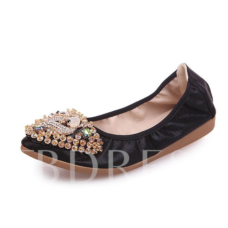 Buy Slip-On Flat With Animal Rhinestone Women's Casual Shoes, Spring,Summer,Fall, 12955593 for $16.99 in TBDress store