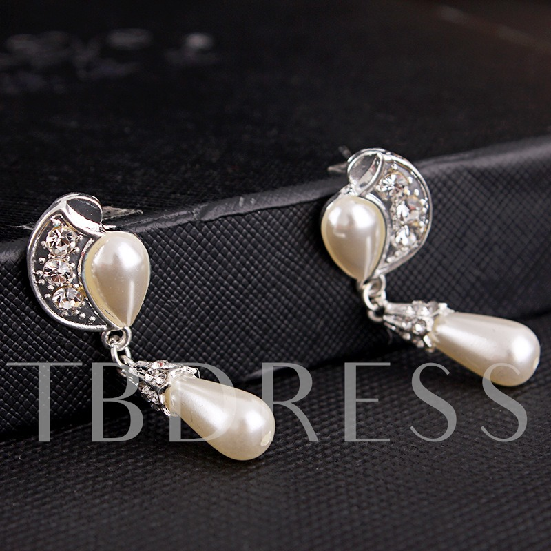 Synthetic Pearl Alloy Double Wedding Jewelry Sets
