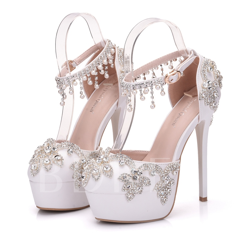 Low-Cut Upper Platform White Wedding Shoes Women's Rhinestone Heels