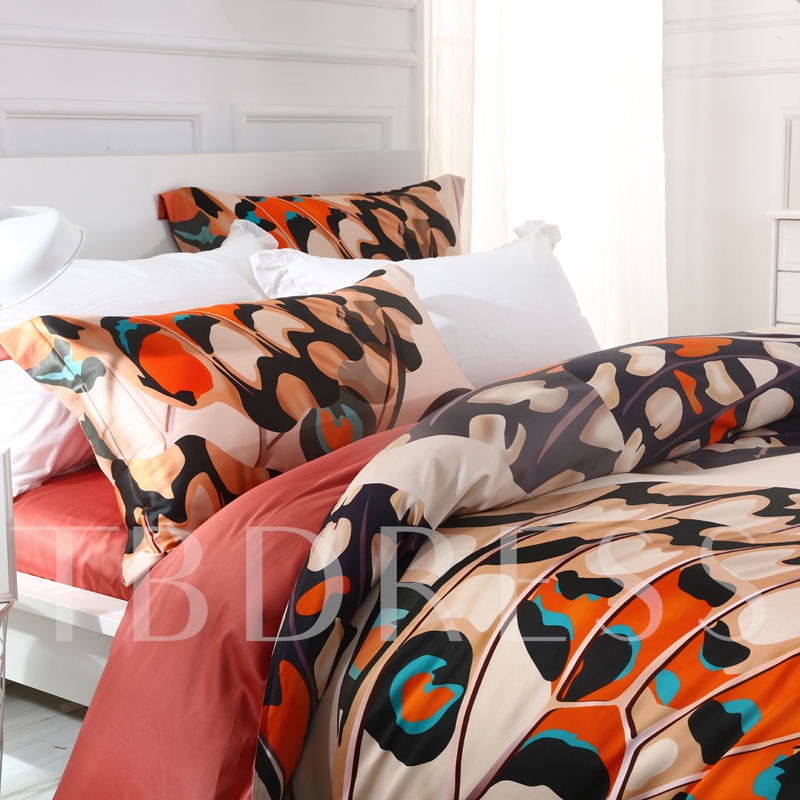 Digital Printed Butterflies Vintage Style Cotton 4-Piece Bedding Sets