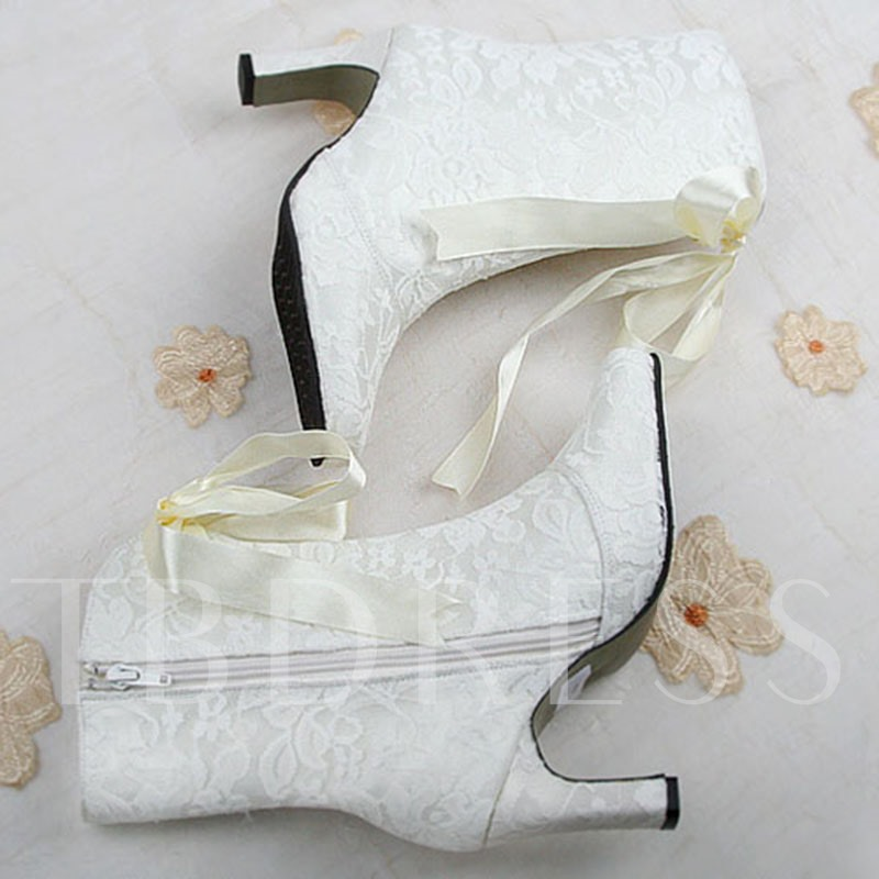 65a00777e Side Zipper Cross Strap Chunky Heel Women's White Boots Wedding Shoes. Sold  Out