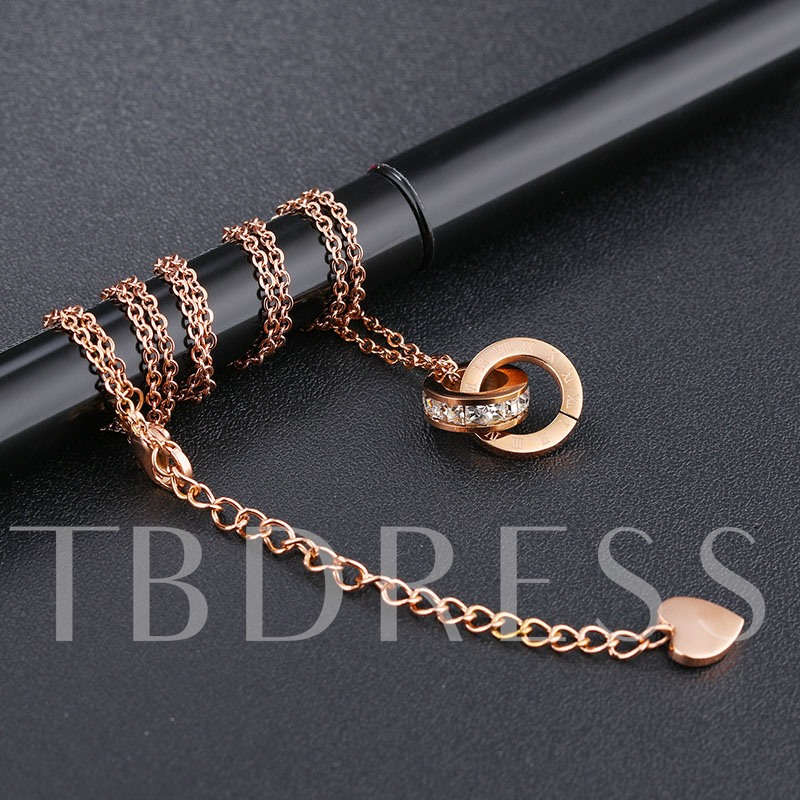 Hypoallergenic Diamante Rose Gold Pendant Necklace
